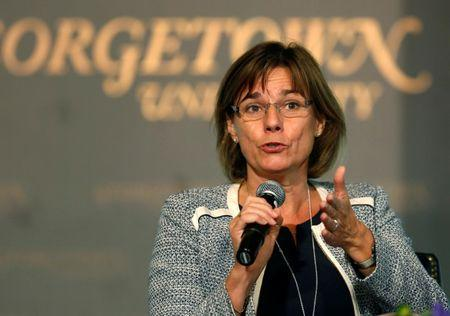 """Sweden's Deputy Prime Minister for International Development Cooperation and Climate Isabella Lovin delivers remarks at the """"Our Ocean"""" conference at Georgetown University in Washington, U.S., September 16, 2016.   REUTERS/Gary Cameron"""