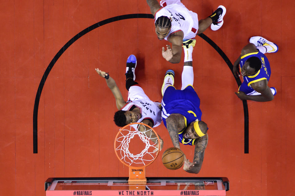 During second half Game 5 NBA Finals basketball action in Toronto on Monday, June 10, 2019. (THE CANADIAN PRESS/Nathan Denette)