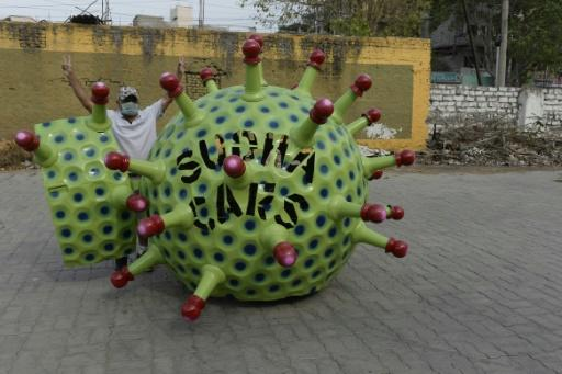 Inventor Sudhakar Yadav has been taking his coronavirus-themed car for a spin in Hyderabad to remind fellow citizens of the dangers of COVID-19
