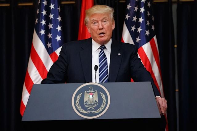 <p>President Donald Trump makes a statement on the terrorist attack in Manchester after a meeting with Palestinian President Mahmoud Abbas, Tuesday, May 23, 2017, in the West Bank City of Bethlehem. (AP Photo/Evan Vucci) </p>