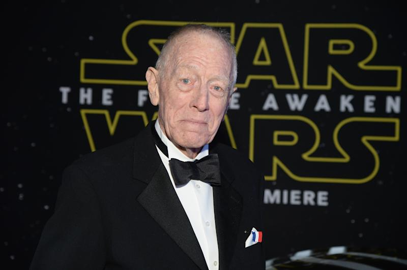 "LOS ANGELES, CA - DECEMBER 14: Actor Max von Sydow arrives at the premiere of Walt Disney Pictures' and Lucasfilm's ""Star Wars: The Force Awakens"", sponsored by Dodge, at the Dolby Theatre, TCL Chinese Theatre and El Capitan Theatre on December 14, 2015 in Hollywood, California. (Photo by Michael Kovac/Getty Images for Dodge)"
