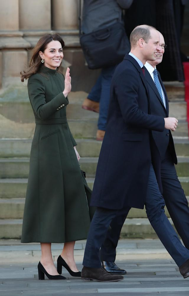 The Duke and Duchess of Cambridge arrive for a visit to City Hall in Bradford to join a group of young people from across the community to hear about life in the city. [Photo: PA]