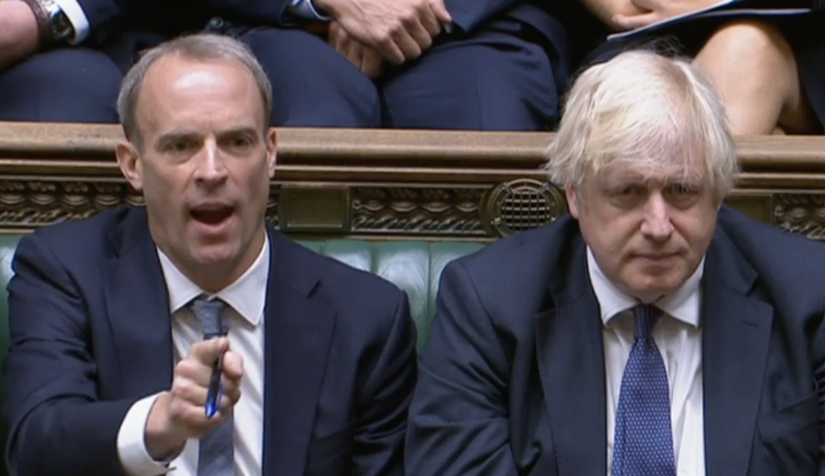 Dominic Raab shouts at Sir Keir Starmer after he and Boris Johnson were criticised for taking holidays during the fall of Afghanistan. (Parliamentlive.tv)