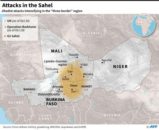 Map of Mali, Niger and Burkina Faso, locating the tri-border region where jihadist attacks have been intensifying