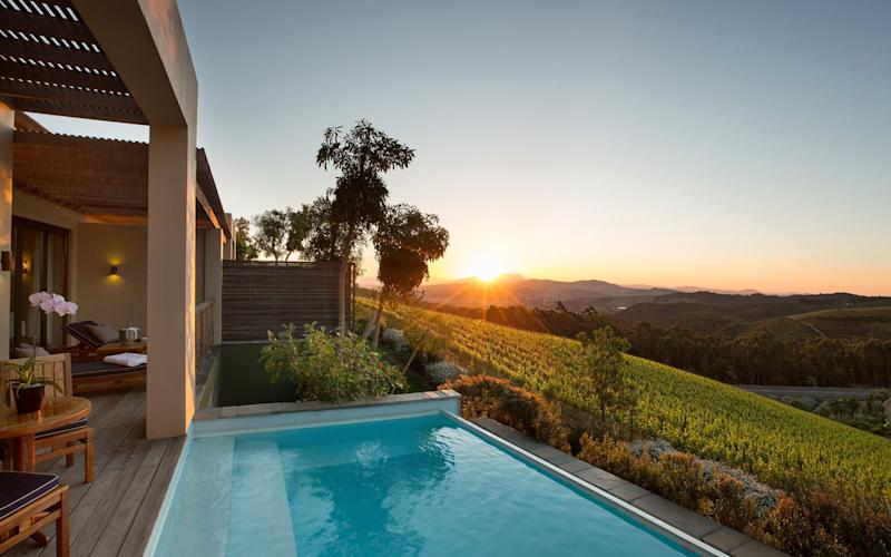 The glorious views are among the dramatic elements found at Delaire Graff Lodges and Spa