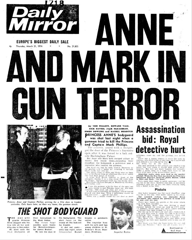 A photo of the front page of Daily Mirror featuring reports of Ian Ball's attempt to kidnap Princess Anne.