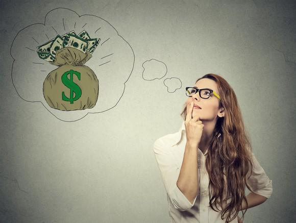 A young woman is pictured thinking with an illustrated thought bubble and bag of money.