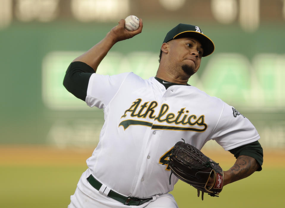 Oakland Athletics pitcher Frankie Montas works against the Tampa Bay Rays during the first inning of a baseball game Thursday, June 20, 2019, in Oakland, Calif. (AP Photo/Ben Margot)