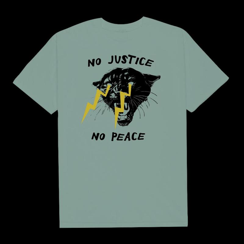 "Get the <a href=""https://philadelphia-printworks.myshopify.com/collections/products/products/no-justice-no-peace-5"" target=""_blank"" rel=""noopener noreferrer"">""No Justice, No Peace"" T-shirt from Philadelphia Printworks for $25</a>"