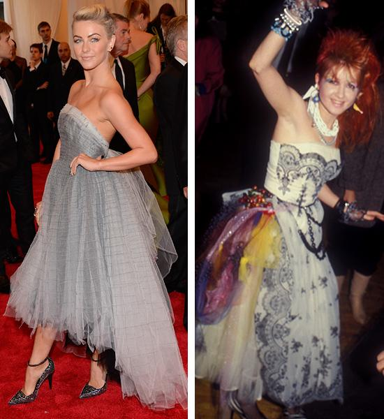 "<div class=""caption-credit""> Photo by: Getty Images</div><div class=""caption-title""></div><b>Julianne Hough vs. Cyndi Lauper</b> <br> The ""Girls Just Want to Have Fun"" singer made us yearn for punky tulle prom dresses from designer Betsey Johnson. Hough's custom Topshop dress has the same playful vibe. We love her studded pumps, but we do wish she'd loaded up on more accessories like Cyndi. <br>"