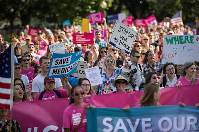 <p>Activists march around the U.S. Capitol to protest the Senate GOP health care bill, on Capitol Hill, June 28, 2017 in Washington, DC. The protest was organized by a wide array of progressive organizations and they are calling for a 'People's Filibuster' around the U.S. Capitol in protest of the GOP health care plan. (Photo: Drew Angerer/Getty Images) </p>