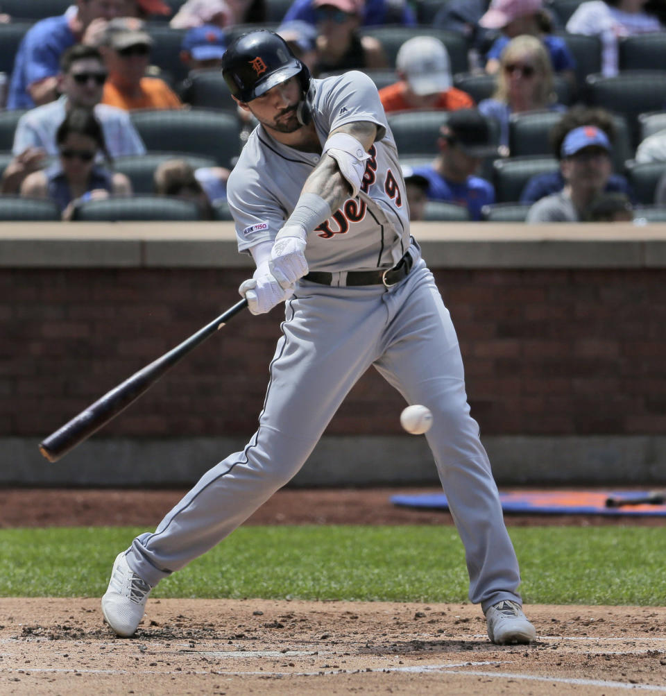 Detroit Tigers' Nicholas Castellanos hits two-run single during the third inning of a baseball game against the New York Mets at Citi Field, Sunday, May 26, 2019, in New York. (AP Photo/Seth Wenig)