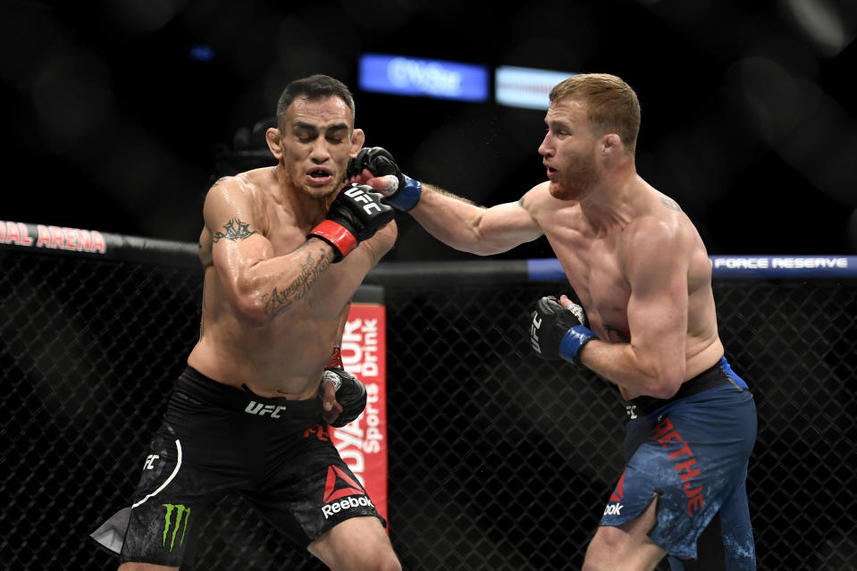 JACKSONVILLE, FLORIDA - MAY 09: Justin Gaethje (R) of the United States punches Tony Ferguson (L) of the United States in their Interim lightweight title fight during UFC 249 at VyStar Veterans Memorial Arena on May 09, 2020 in Jacksonville, Florida. (Photo by Douglas P. DeFelice/Getty Images)