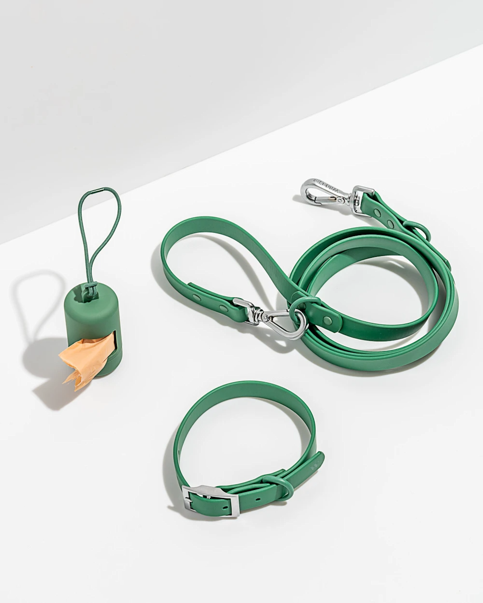 """<h2>Wild One Collar Walk Kit</h2><br>Let's be honest, a gift for her dog <em>is</em> a gift for her — and Wild One's colorful, stylish pup-ccessories are some of the best <br><br><strong>Wild One</strong> Collar Walk Kit, $, available at <a href=""""https://go.skimresources.com/?id=30283X879131&url=https%3A%2F%2Fwildone.com%2Fproducts%2Fcollar-walk-kit%3Fcolor%3Dspruce"""" rel=""""nofollow noopener"""" target=""""_blank"""" data-ylk=""""slk:Wild One"""" class=""""link rapid-noclick-resp"""">Wild One</a><span class=""""copyright"""">Photo Courtesy of Need Supply.</span>"""