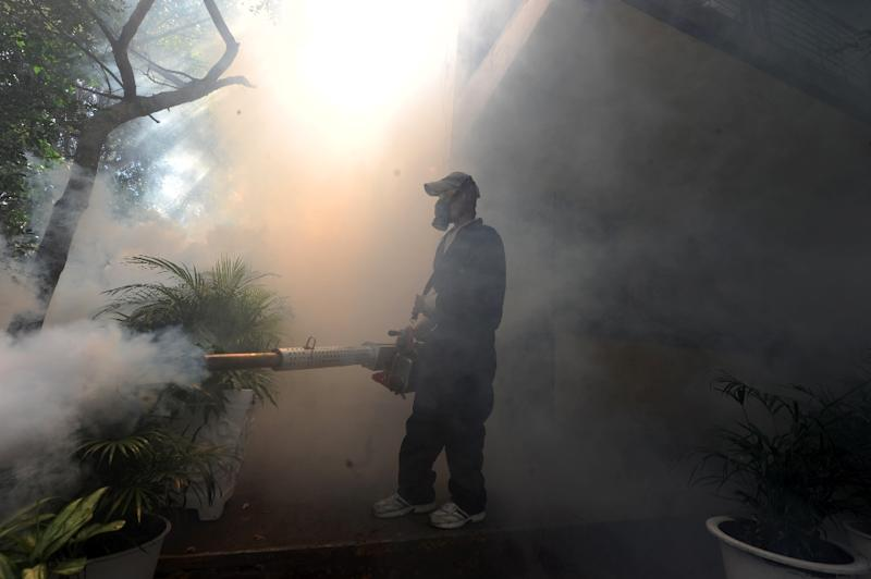 Health ministry personnel in Tegucigalpa, Honduras, fumigate against the Aedes aegypti mosquito, which transmits the Zika virus on February 1, 2016 (AFP Photo/Orlando Sierra)