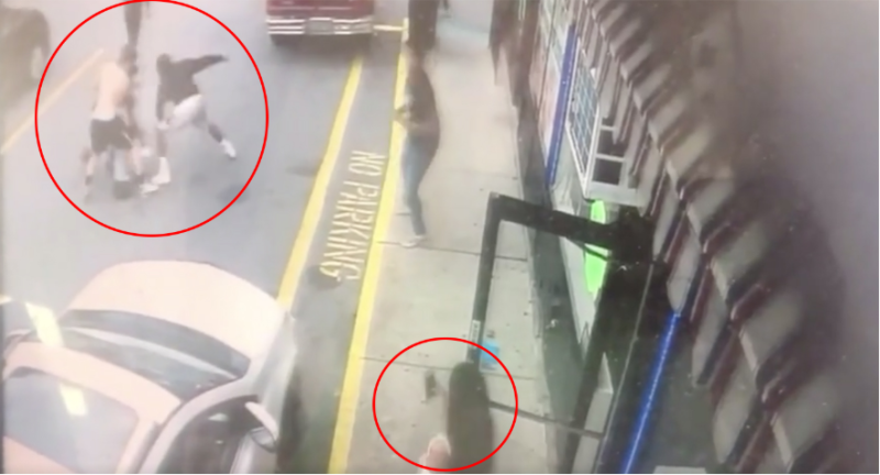 Attack of Khaseen Morris in New York shown on security footage as bystanders hold phones up to film.
