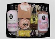 """<p><strong>StreborsBathnBody</strong></p><p>etsy.com</p><p><strong>$52.00</strong></p><p><a href=""""https://go.redirectingat.com?id=74968X1596630&url=https%3A%2F%2Fwww.etsy.com%2Flisting%2F936543868%2Fgeranium-rose-gift-box-gift-box-care&sref=https%3A%2F%2Fwww.womansday.com%2Frelationships%2Ffamily-friends%2Fg35756207%2Fmothers-day-gift-baskets%2F"""" rel=""""nofollow noopener"""" target=""""_blank"""" data-ylk=""""slk:SHOP NOW"""" class=""""link rapid-noclick-resp"""">SHOP NOW</a></p><p>For the mom who loves keeping her skin soft and smooth, get her this luxury skincare set, which includes a bath bar, body wash, rose soap, a sage stick, body lotion, body oil, and an exfoliating mesh soap pouch. </p>"""