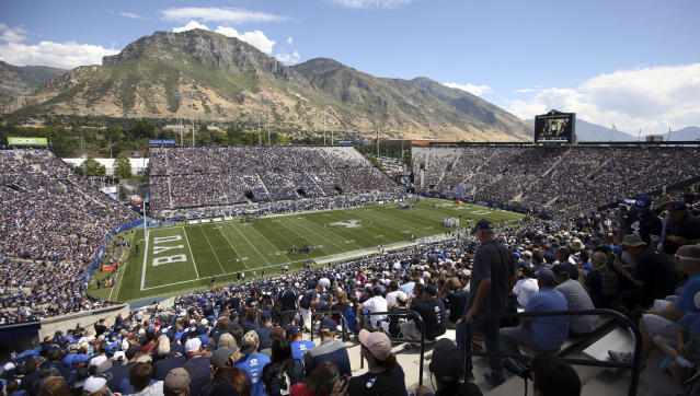LaVell Edwards Stadium is shown in the first half during an NCAA college football game between BYU and Portland State, Saturday, Aug. 26, 2017, in Provo, Utah. (AP)