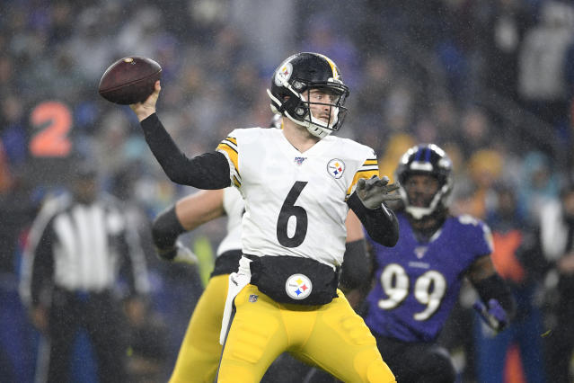 Pittsburgh Steelers quarterback Devlin Hodges throws a pass against the Baltimore Ravens during the first half of an NFL football game, Sunday, Dec. 29, 2019, in Baltimore. (AP Photo/Nick Wass)