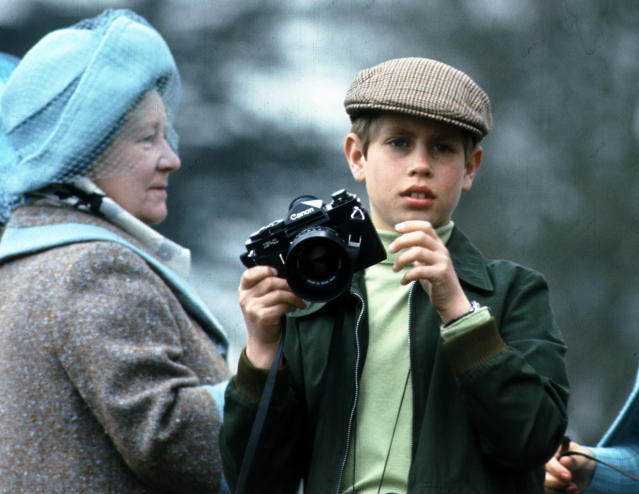 Prince Edward and Queen Elizabeth, the Queen Mother attend the Badminton Horse Trials on in 1976 in Badminton. (Getty Images)