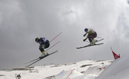 Freestyle Skiing - FIS Snowboarding and Freestyle Skiing World Championships - Men's Ski Cross finals - Sierra Nevada, Spain - 18/03/17 - Victor Oehling Norberg of Sweden and Jamie Prebble of New Zealand in action during the big final. REUTERS/Albert Gea