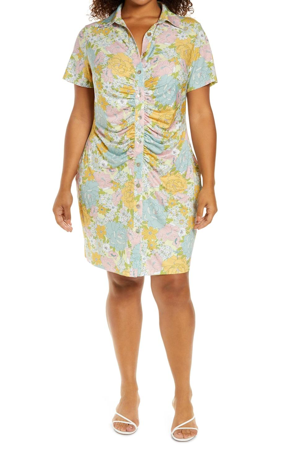 <p>What's not to love about this <span>WAYF Jennifer Ruched Shirtdress</span> ($58)? From the ruched detailing to the floral print, it'll instantly upgrade your sunny-day wardrobe.</p>