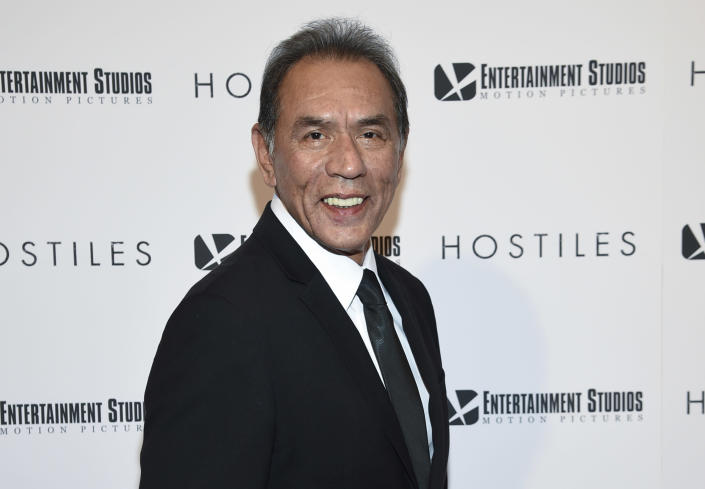"""FILE - This Dec. 18, 2017 file photo shows actor Wes Studi at a special screening of """"Hostiles"""" in New York. Studi will become the first Native American actor to receive an Oscar Sunday night at the Governors Awards. (Photo by Evan Agostini/Invision/AP, File)"""