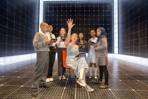 Niamh Cusack, star of The Curious Incident of the Dog in the Night-Time, reads to pupils from St Gab ...