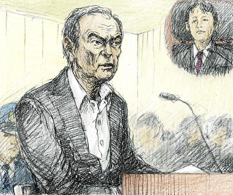 A court sketch shows ousted Nissan Motor Co Ltd chairman Carlos Ghosn during an open hearing at Tokyo District Court in Tokyo