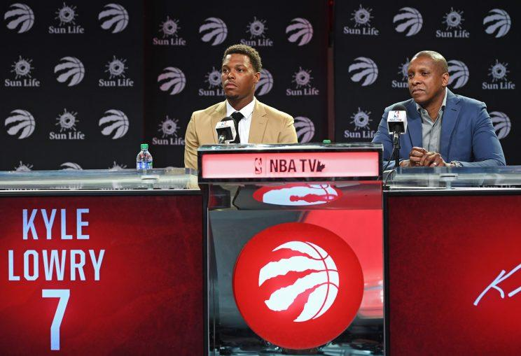 Masai Ujiri retained Kyle Lowry with a three-year, $100 million deal. (Getty)