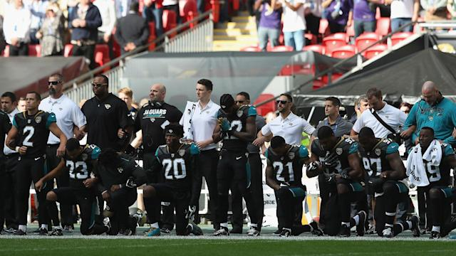 On a day in which anthem protests are expected to be more prevalent than ever in the NFL, the Jaguars and Ravens set the stage in London.