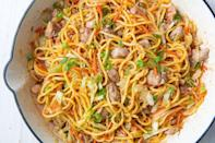 """<p>Chow mein is our go-to for all types of meals, from an <a href=""""https://www.delish.com/uk/easy-dinner-ideas/"""" rel=""""nofollow noopener"""" target=""""_blank"""" data-ylk=""""slk:easy dinner"""" class=""""link rapid-noclick-resp"""">easy dinner</a> to a serious <a href=""""https://www.delish.com/uk/cocktails-drinks/a30873516/hangover-cures/"""" rel=""""nofollow noopener"""" target=""""_blank"""" data-ylk=""""slk:hangover"""" class=""""link rapid-noclick-resp"""">hangover</a>. We love the kick this recipe gets from fresh ginger, but if you're not a fan, skip it.</p><p>Get the <a href=""""https://www.delish.com/uk/cooking/recipes/a30959950/chicken-chow-mein-recipe/"""" rel=""""nofollow noopener"""" target=""""_blank"""" data-ylk=""""slk:Chicken Chow Mein"""" class=""""link rapid-noclick-resp"""">Chicken Chow Mein</a> recipe. </p>"""
