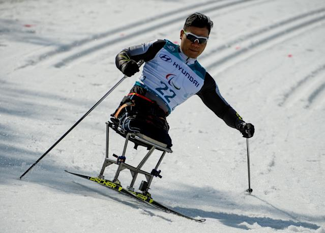 Bitao Huang CHN competes in the Cross-Country Skiing Sitting Men's 1.1km Sprint at the Alpensia Biathlon Centre. The Paralympic Winter Games, PyeongChang, South Korea, Wednesday 14th March 2018. OIS/IOC/Thomas Lovelock/Handout via REUTERS
