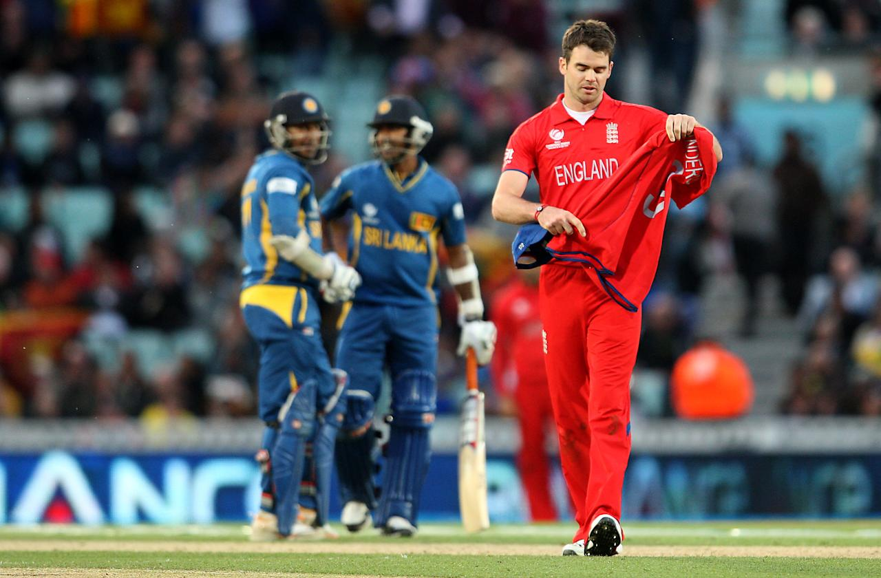 England's James Anderson walks dejected during the ICC Champions Trophy match at The Kia Oval, London.