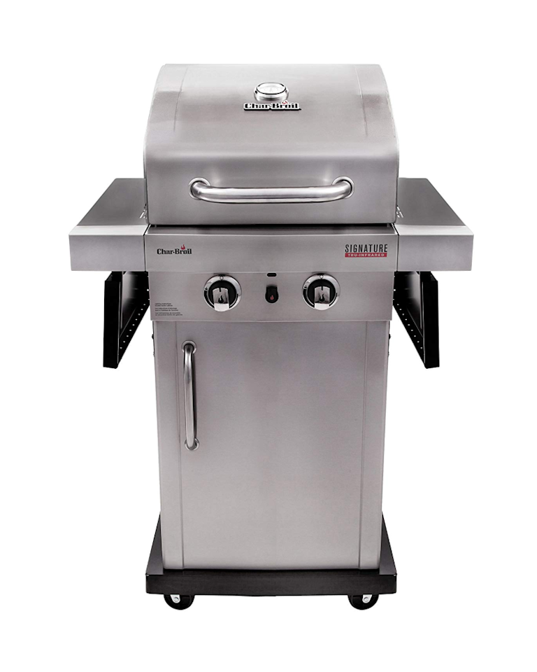 """<p><strong>Char-Broil</strong></p><p>amazon.com</p><p><strong>$329.99</strong></p><p><a href=""""https://www.amazon.com/dp/B016ZIBBHG/?tag=syn-yahoo-20&ascsubtag=%5Bartid%7C10057.g.27821924%5Bsrc%7Cyahoo-us"""" target=""""_blank"""">BUY NOW</a></p><p>The most affordable of the grills on this list, this smaller 2-burner grill is perfect for smaller outdoor spaces but still packs a punch. Infrared technology helps it heat up faster and more evenly, plus it features folding side shelves to give you more prep space when you need it. </p>"""