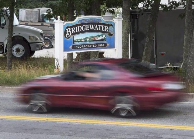 A Bridgewater, N.S., sign is seen on July 30, 2016. The town voted 4-2 Monday to rename Cornwallis Street. (The Canadian Press - image credit)