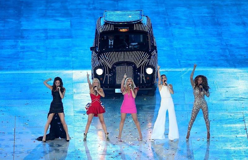 The Spice Girls Victoria Beckham, Geri Halliwell, Emma Bunton, Melanie Chisholm, Melanie Brown perform during the London Olympic Games 2012 Closing Ceremony at the Olympic Stadium, London. RESS ASSOCIATION Photo. Picture date: Sunday August 12, 2012. See PA story Olympics . Photo credit should read: David Davies/PA Wire. EDITORIAL USE ONLY