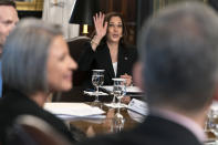 Vice President Kamala Harris waves goodbye to members of the media, while attending a meeting with business CEO's about economic development in the Northern Triangle, Thursday, May 27, 2021, from her ceremonial office on the White House complex in Washington. (AP Photo/Jacquelyn Martin)