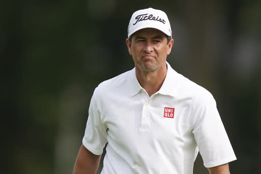 Adam Scott reacts on the sixth hole during practice before the U.S. Open Championship golf tournament at Winged Foot Golf Club, Monday, Sept. 14, 2020, in Mamaroneck, N.Y. (AP Photo/John Minchillo)