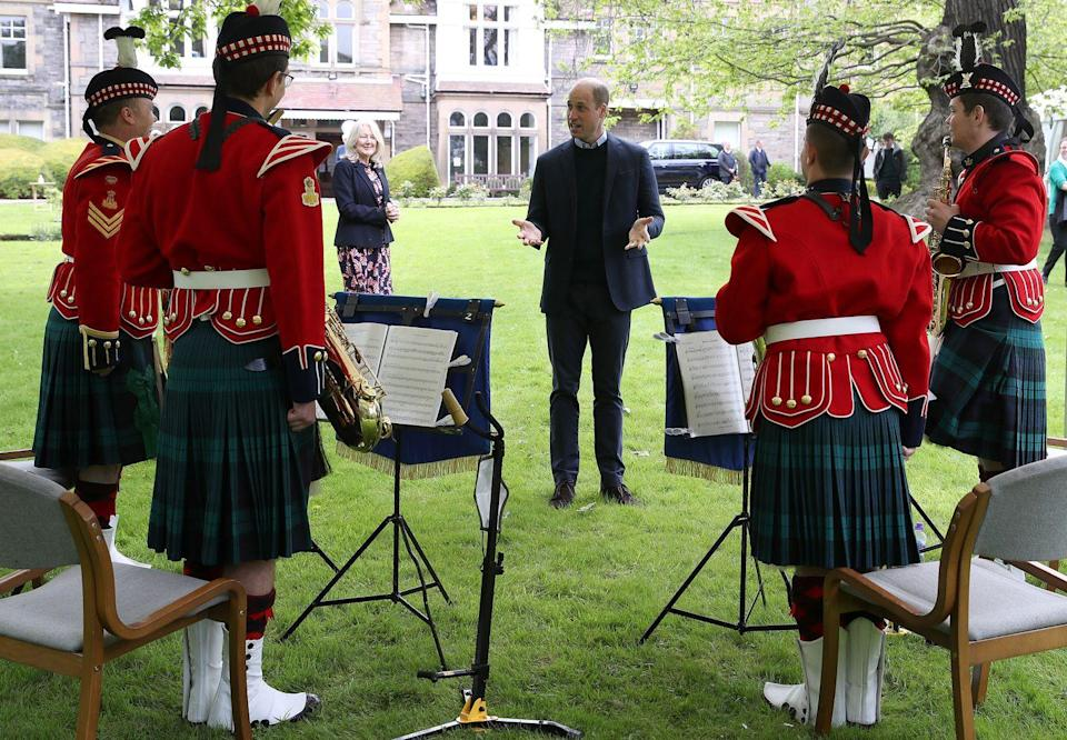 <p>Talking to the band during a visit to the Queens Bay Lodge Care Home on May 23, 2021 in Edinburgh, Scotland. </p>