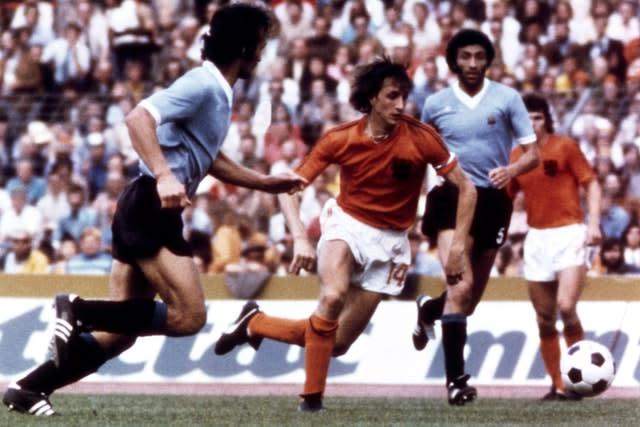 Holland star Johan Cruyff in his famous number 14 shirt at the 1974 World Cup finals (PA)