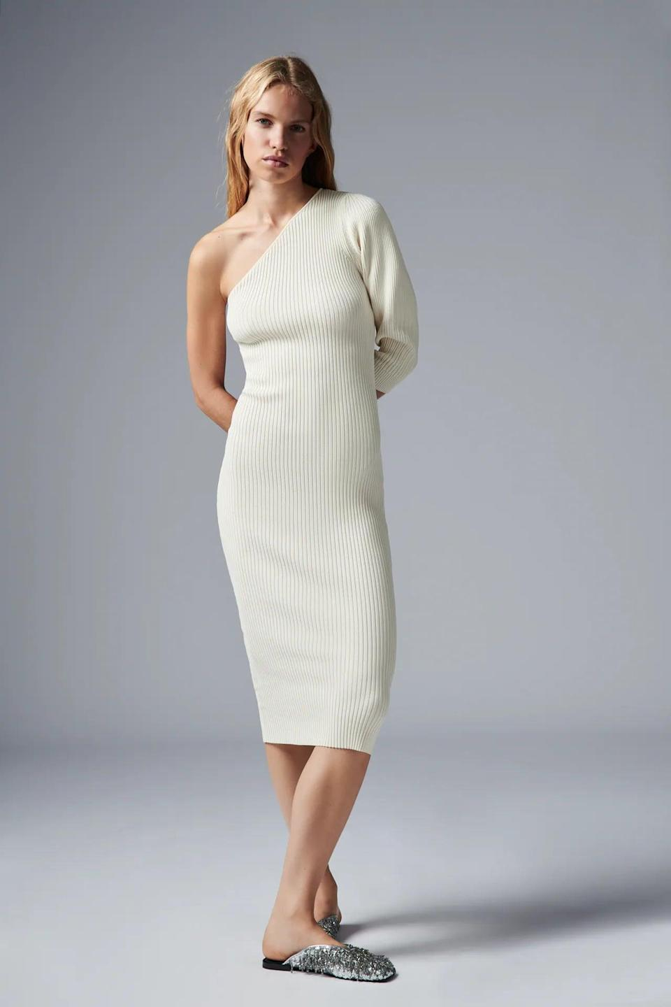 <p>Pair this <span>Zara Asymmetric Knit Dress</span> ($50) with flats or booties. We're into the one shouldered look.</p>