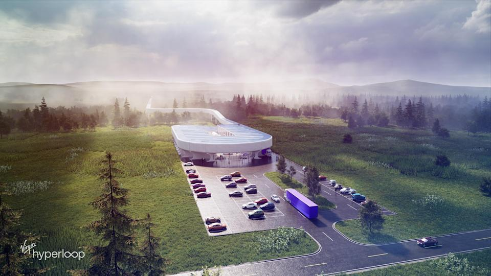 Concept rendering of Virgin Hyperloop's Hyperloop Certification Center in West Virginia.