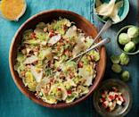"""<p><strong>Recipe: <a href=""""https://www.southernliving.com/recipes/brussels-sprout-slaw-apples-pecans-recipe"""" rel=""""nofollow noopener"""" target=""""_blank"""" data-ylk=""""slk:Brussels Sprout Slaw with Apples and Pecans"""" class=""""link rapid-noclick-resp"""">Brussels Sprout Slaw with Apples and Pecans</a></strong></p> <p>Crunchy Brussels sprouts, crisp apples, and plenty of pecans come together for a refreshing autumn salad that allows seasonal produce to shine.</p>"""