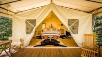 """<p>There's no better way to channel the prospectors of yore (ones who have struck gold, of course) than these 8 frontier-style but luxurious tents set in a wild Colorado meadow ringed by the San Juan Mountains. You can fish, horseback ride, mountain bike, hike, raft, and more, then repair to the spa tent, the sauna (set along a private stretch of the Dolores River), or the central Farmhouse, a cabin-like building dating from the 1800s where meals are served. The sister property, Dunton Hot Springs, is just a few miles down the road, and unless it, too, has been booked by a private party, you're welcome to use its thermal springs. (Open from June to mid-October.)</p><p><a class=""""link rapid-noclick-resp"""" href=""""https://www.duntondestinations.com/river-camp/"""" rel=""""nofollow noopener"""" target=""""_blank"""" data-ylk=""""slk:Book Now"""">Book Now</a></p>"""