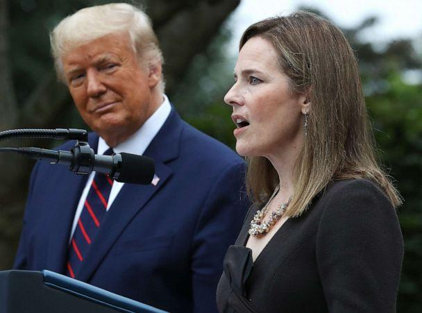 PHOTO: Seventh U.S. Circuit Court Judge Amy Coney Barrett speaks after President Donald Trump announced that she will be his nominee to the Supreme Court in the Rose Garden at the White House, Sept. 26, 2020. (Chip Somodevilla/Getty Images)