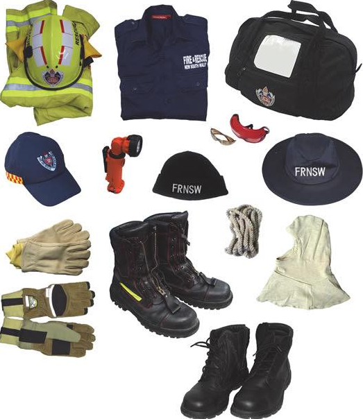 Pictured are the items that were stolen from Wyong Fire Station including helmets and jackets. Source: Wyong Fire Department