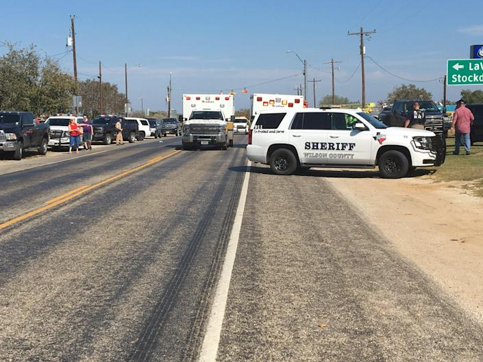 <p>Police cars are seen in Sutherland Springs, Texas, Nov. 5, 2017, in this picture obtained via social media. (Max Massey/ KSAT 12/via Reuters) </p>