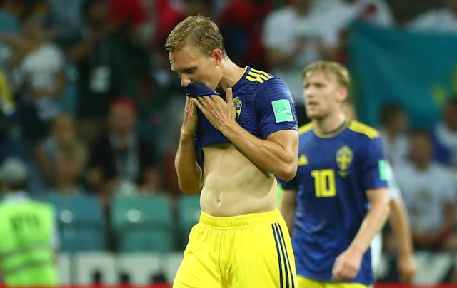 Soccer Football - World Cup - Group F - Germany vs Sweden - Fisht Stadium, Sochi, Russia - June 23, 2018 Sweden's Ludwig Augustinsson reacts REUTERS/Pilar Olivares