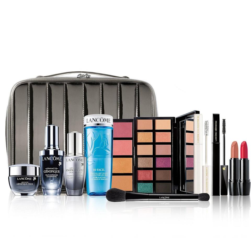 """<p>No offense, Lancôme, but """"Holiday Beauty Box"""" is simply not an accurate name for this set. Timeless Train Case of Full-Size Beauty Treasures is more like it. Grandma will flip her lid over these 10 skin-care and makeup products — we're talking a palette, lipsticks, Advanced Génifique products, and more — which normally add up to a whopping $555. But for the holidays, a $42 purchase will grant you access to this set for just $73. (Shhhh — let Grandma think you splurged.)</p> <p><strong>$73</strong> (<a href=""""https://www.lancome-usa.com/gifts/skincare-gift-sets/holiday-beauty-box-10-full-size-favorites/LAN647.html"""" rel=""""nofollow noopener"""" target=""""_blank"""" data-ylk=""""slk:Shop Now"""" class=""""link rapid-noclick-resp"""">Shop Now</a>)</p>"""